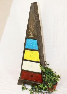 Cargo Loft Pyramide 100cm Bunt Kommode Antique m. 4 Schubladen Schrank aus Holz