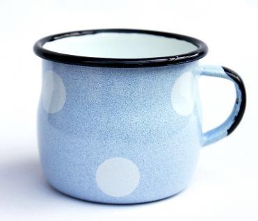 Emaille Tasse 501w/7 Hellblau mit weißen Punkten Becher emailliert 7 cm Kaffeebecher Kaffeetasse - Vorschau 2