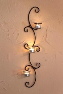 DanDiBo Wandteelichthalter Metall Wand Schwarz Emma 68 cm Teelichthalter Kerzenhalter Wandkerzenhalter Wandleuchter Kerzenleuchter