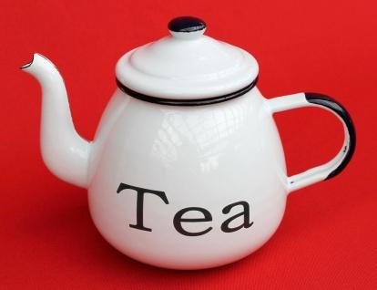 Teekanne 582AB TEA Weiß emailliert 14cm Wasserkanne Kanne Kaffeekanne Emaille Nostalgie