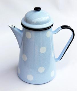 Kaffeekanne 578TB Hellblau mit weißen Punkten emailliert 22cm Wasserkanne Kanne Emaille Teekanne