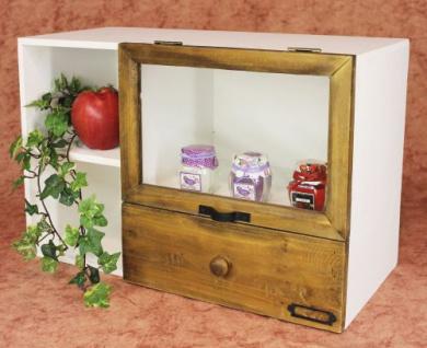 Minikommode 12016 Kommode mit Vitrine und Schublade Regal 48cm Schrank Shabby