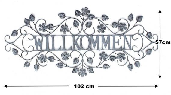 Wandschild Willkommen Metall Vintage Shabby Gross 102x47 cm Dekoschild Wandbild Schild Wand Antik