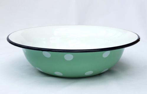 Schüssel 601/32 Hellgrün mit weißen Punkten emailliert 32cm Teller Salatschüssel Emaille Waschschüssel