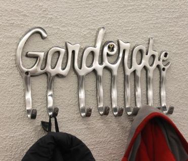 Garderobe 14463 Wandgarderobe 40cm mit 9 Kleiderhaken aus Alu Silberfarben Haken