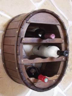 Weinregal Weinfass Wandregal zum aufhängen für 6 Flaschen Bra