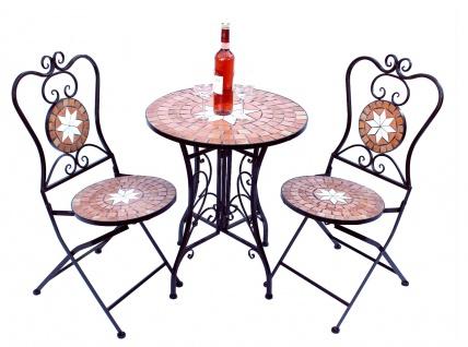 Sitzgruppe Merano 12001-2 Gartentisch + 2 Stk. Gartenstuhl aus Metall Mosaik Tisch + 2x Stuhl