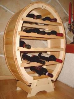 Weinregal Weinfass für 18 Flaschen Natur Lackiert 77cm Flaschenhalter Flaschenregal Bar - Vorschau 1