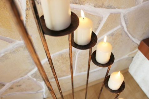 Kerzenständer Art.225 aus Schmiedeeisen 102cm Kerzenleuchter Kerzenhalter Metall - Vorschau 5