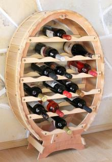 DanDiBo Weinregal aus Holz für 24 Flaschen Weinfass Natur Lackiert Bar Flaschenständer Fass Regal