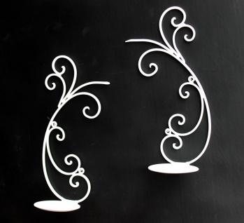 Wandleuchter 2er Set Kerzenhalter 92114 aus Metall 33 cm Weiß Wandkerzenhalter Kerzenleuchter - Vorschau 3