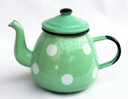 Teekanne 582AB Hellgrün mit weißen Punkten emailliert 14cm Wasserkanne Kanne Kaffeekanne Emaille