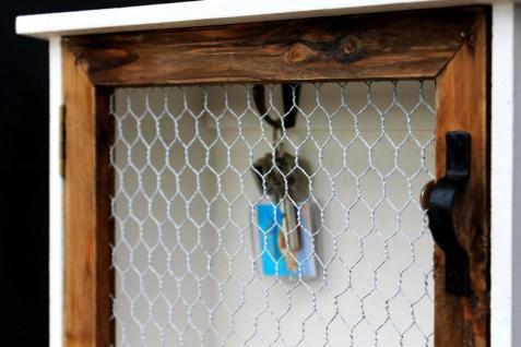 Schlüsselregal Holz Weiß Briefablage Wandregal Schlüsselkasten 12045 Regal 42 cm Vintage Shabby Landhaus Küchenregal - Vorschau 3
