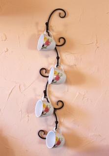 DanDiBo Tassenhalter Wand Schwarz Metall 68 cm Olivia Tassenhaken Küche Vintage Antik Becherhalter