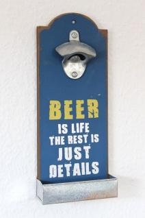 """Wandflaschenöffner mit Kronkorkenbehälter 20003 Blau """" Beer is life"""" Bieröffner 32cm Flaschenöffner - Vorschau 2"""