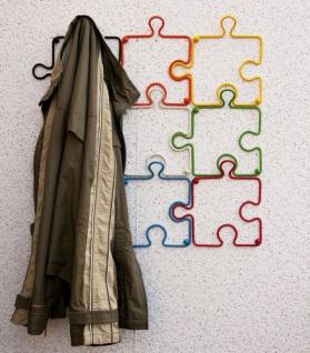 "Designer Kleiderhaken "" Puzzle"" 20cm Garderobe Wandhaken Haken aus Metall"