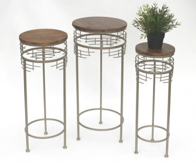 Blumenhocker Metall 21288 3er Set Blumenständer Rund Beistelltisch Modern