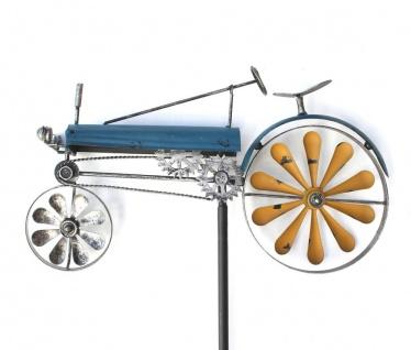 Gartenstecker Metall Traktor XL Breite 48 cm Trecker Blau 23700 Windspiel Windrad Wetterfest Gartendeko Garten Gartenstab Bodenstecker