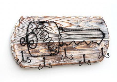 DanDiBo Schlüsselbrett Holz Schlüsselboard 1103 Schlüsselhaken handgemacht Handmade Bügel Holzschlüssel