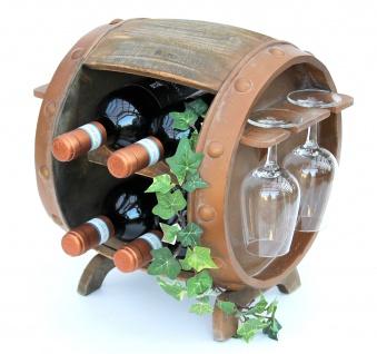 DanDiBo Weinregal Holz Weinfass Braun 33 cm 2110 Bar Flaschenregal Flaschenständer Klein Fass Holzfass mit Glashalter - Vorschau 5
