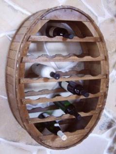 DanDiBo Weinregal Holz Wand Weinfass 24 Flaschen Braun Wandregal Flaschenregal Flaschenhalter Fass