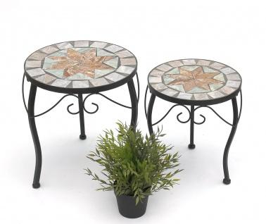 Blumenhocker Mosaik Rund 2er Set 29 und 33 cm Blumenständer 17828 Beistelltisch Pflanzenständer Mosaiktisch Klein