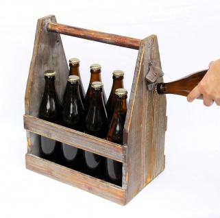 Bierträger mit Flaschenöffner 5087 Bierkiste aus Holz 38cm Flaschenträger
