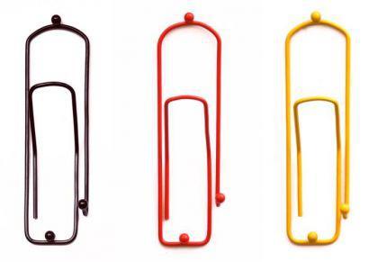 """Kleiderhaken """"Büroklammer"""" Schwarz Rot Gold Garderobe Wandhaken Haken 32cm 3stk. - Vorschau 1"""
