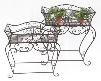 Blumenständer 2er Set Blumenbank 12554 Metall Blumenregal Beistelltisch Tisch