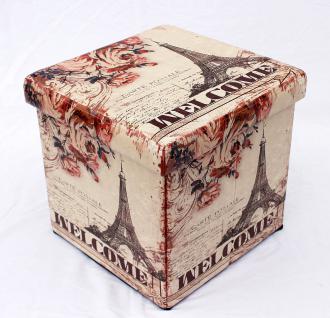 Hocker aus Kunstleder Sitzhocker 2027 Aufbewahrungsbox 40cm Sitzwürfel Truhe Korb - Vorschau 3