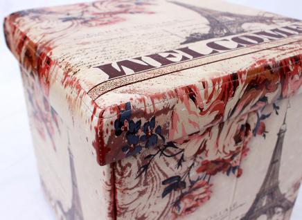 Hocker aus Kunstleder Sitzhocker 2027 Aufbewahrungsbox 40cm Sitzwürfel Truhe Korb - Vorschau 5