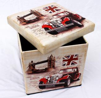 Hocker aus Kunstleder Sitzhocker 2219 Aufbewahrungsbox 40cm Sitzwürfel Truhe Korb - Vorschau 5