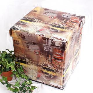 Hocker aus Kunstleder Sitzhocker 2009 Aufbewahrungsbox 40cm Sitzwürfel Truhe Korb