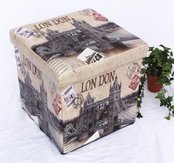 Hocker aus Kunstleder Sitzhocker 2002 Aufbewahrungsbox 40cm Sitzwürfel Truhe Korb - Vorschau 5