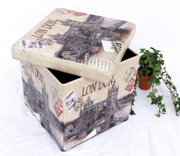 Hocker aus Kunstleder Sitzhocker 2002 Aufbewahrungsbox 40cm Sitzwürfel Truhe Korb - Vorschau 3