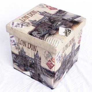 Hocker aus Kunstleder Sitzhocker 2002 Aufbewahrungsbox 40cm Sitzwürfel Truhe Korb