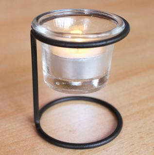 Teelichthalter 11151A Kerzenhalter H-9cm D-6, 5cm Teelicht Windlicht Teelichtglas