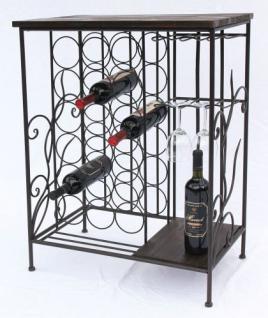 Weinregal 83cm HX12977 Flaschenständer Metall Holz Flaschenhalter Regal - Vorschau 3