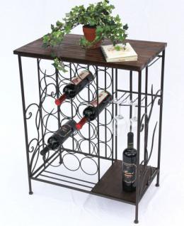 Weinregal 83cm HX12977 Flaschenständer Metall Holz Flaschenhalter Regal - Vorschau 1