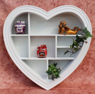 Setzkasten Herz 15K050 aus Holz 40cm Wandregal Sammlervitrine Schaukasten Regal - Vorschau 1