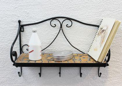Wandregal Merano Mosaik 050550 aus Metall 41cm Handtuchhalter Badregal mit Haken - Vorschau 5