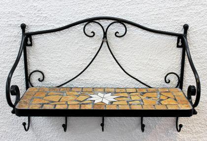 Wandregal Merano Mosaik 050550 aus Metall 41cm Handtuchhalter Badregal mit Haken - Vorschau 2