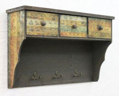 Wandschrank 59cm Loft 12050 Schrank Wandregal Vintage Shabby Hakenleiste Haken - Vorschau 1