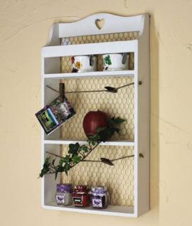 Wandregal mit Herz 12043 Regal 57cm Vintage Shabby Landhaus Küchenregal Weiß