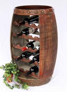 Weinregal Weinfass 0370-R Fass aus Holz H-81cm Flaschenständer Braun Bar Weinbar - Vorschau 4