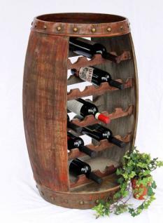 Weinregal Weinfass 0370-R Fass aus Holz H-81cm Flaschenständer Braun Bar Weinbar - Vorschau 1