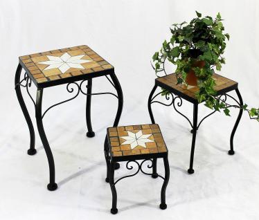 Blumenhocker Merano Mosaik 3er Set 12015 Blumenständer 21 , 28, 38cm Hocker Eckig