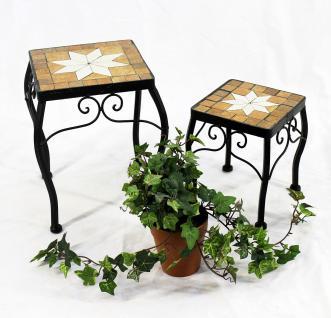 Blumenhocker Merano Mosaik 2er Set 12015 Blumenständer 20 und 27cm Hocker Eckig