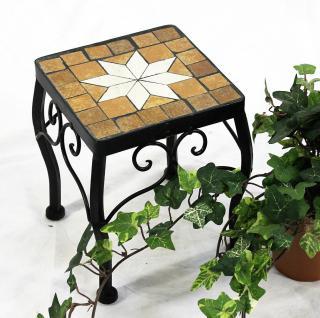 Blumenhocker Merano Mosaik 12015 Blumenständer 21cm Hocker Eckig Beistelltisch