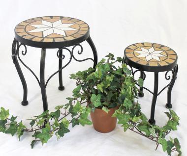 Blumenhocker Merano Mosaik 2er Set 12014 Blumenständer 20 und 27cm Hocker Rund